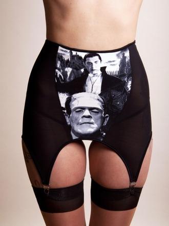 underwear goth punk dracula monster vampire garter garter belt frankenstein black lingerie black underwear lingerie