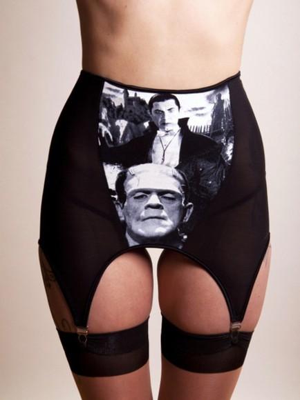 underwear black underwear black lingerie lingerie goth punk dracula monster vampire garter garter belt frankenstein