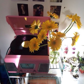 home accessory vinyl tumblr records pink record player vintage tumblr bedroom