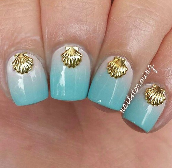 sea mermaid nail polish nail accessories nails art seashell gold