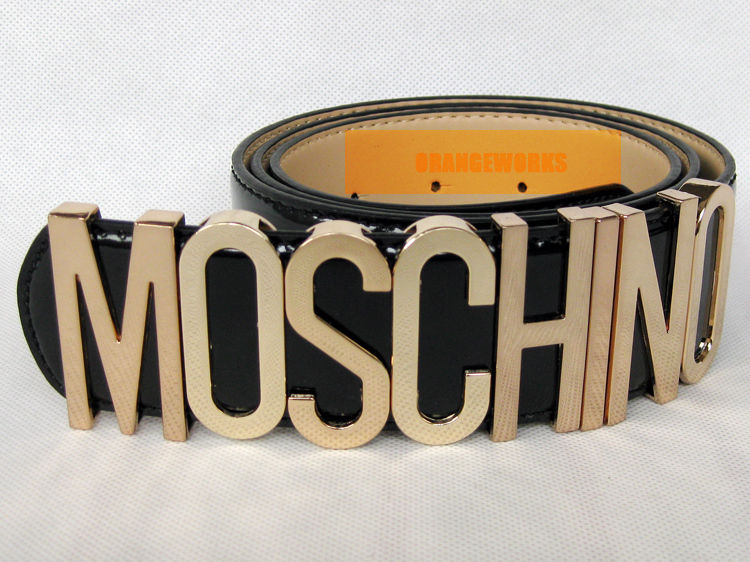 New Authentic patent leather Moschino Belt With Gold Letters 80sVGCDustBag&Box | eBay