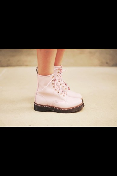 light pink shoes DrMartens cute girl summer boots