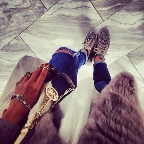 python shoes sneakers michael kors ripped jeans gold rings fur vest blouse jeans jewels