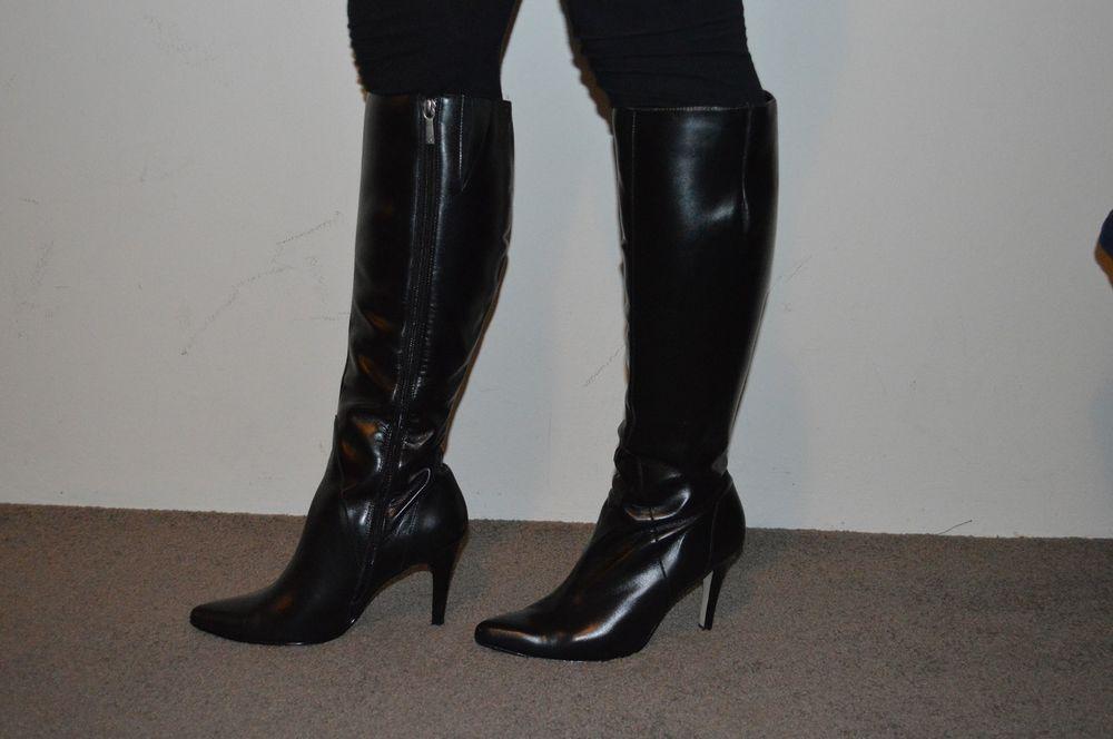New Diana Ferrari black leather knee high boots size 7