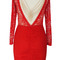New red lace open back gold chain assymetrical midi bodycon party dress