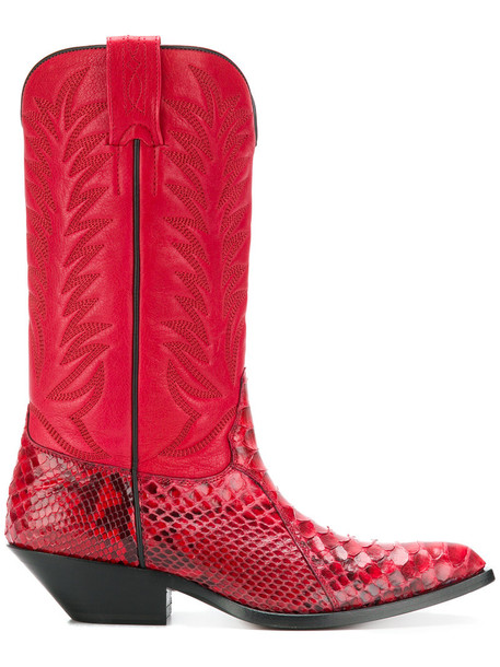 SONORA cowboy boots women leather red shoes