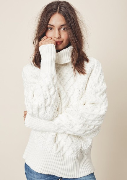 Sweater: white, cozy, knitwear, classic, turtleneck, roomy, roomy ...