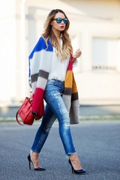 cashmere in style,blogger,jeans,mirrored sunglasses,red bag,light blue jeans,blanket scarf,striped scarf
