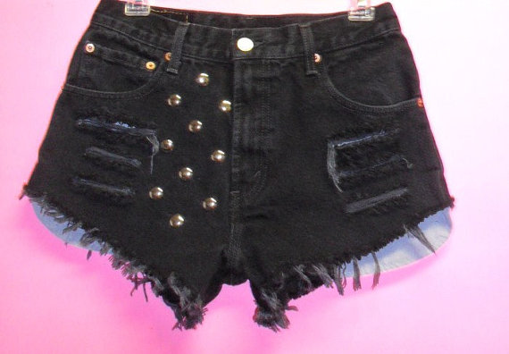 High Waisted Levis Black  Denim Shorts Pink by GypsysTreasureCove