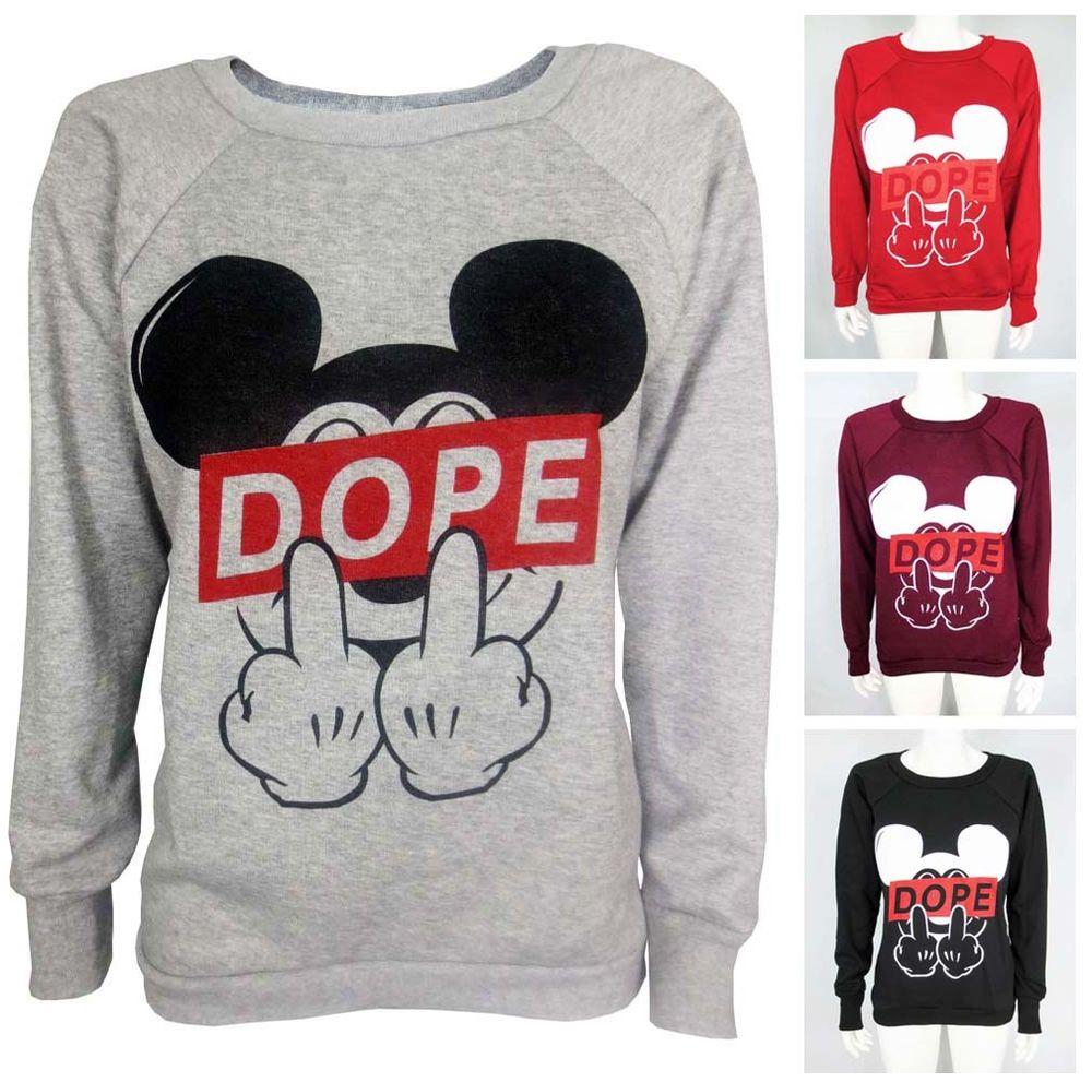 Womens Mickey Dope Mouse Finger Sweatshirt Fleece Knit Top Dis Obey Ladies Swag | eBay