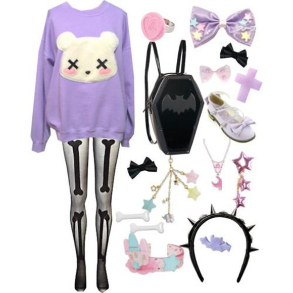 pastel goth bag stud skeleton heart shirt pastel goth kawaii outfit cute outfits all cute outfits blouse tights sweater bear dead bear purple pants jeans clothes skinnies purple cute purple sweater cute sweet adorable look cool putple pastel sweater with white bear head on it