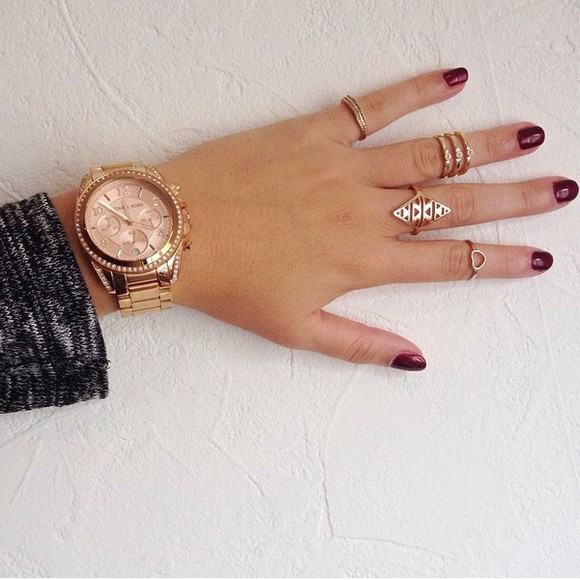 jewels watch gold girly michael kors ring michael kors watch gold watch gold rings nailpoilsh nails burgundy
