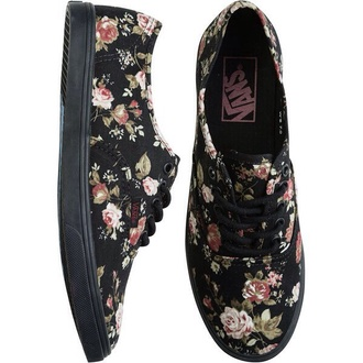 shoes sneakers floral black flats lace up