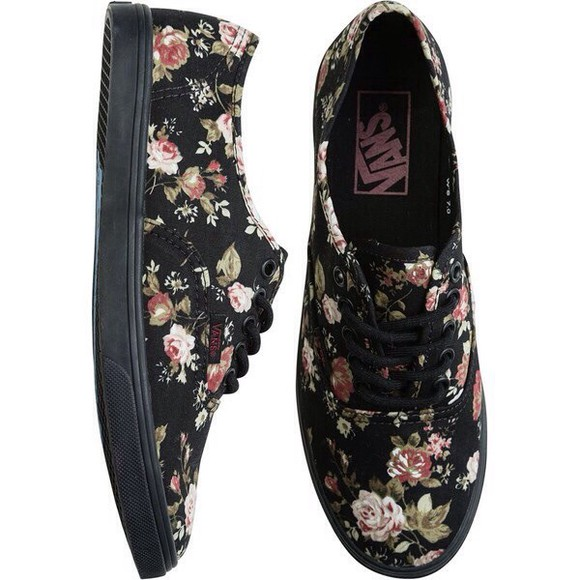 shoes black flats sneakers floral lace up