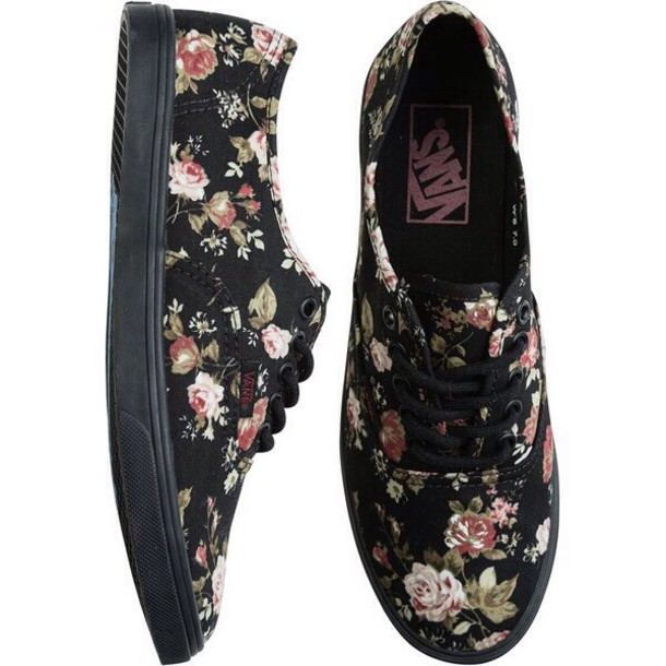 shoes, sneakers, floral, black, flats