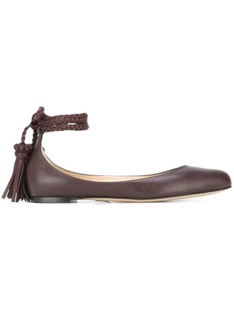 tassel women leather brown shoes