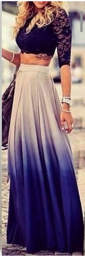 skirt ombre blue grey maxi skirt high waisted skirt floor length skirt grey to blue