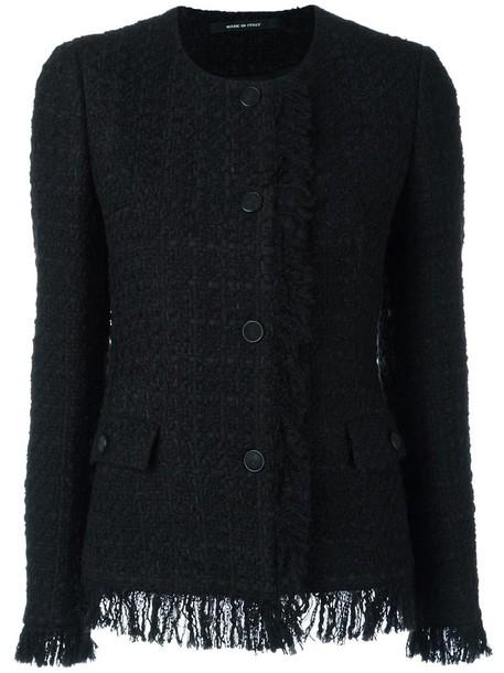 jacket women cotton black wool