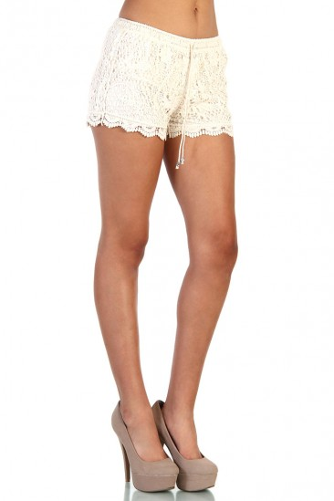 LoveMelrose.com From Harry & Molly | Floral Lace Shorts - Ivory