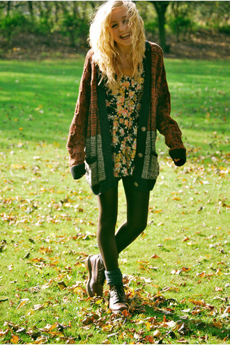 cardigan knitted cardigan oversized cardigan floral dress black tights boots