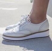 shoes,white oxfords,shellys london,oxfords,brogue shoes