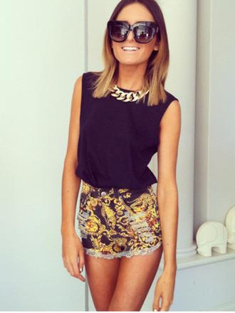 shorts high waisted shorts black tank top sunglasses jewels shirt pattern black and gold gold