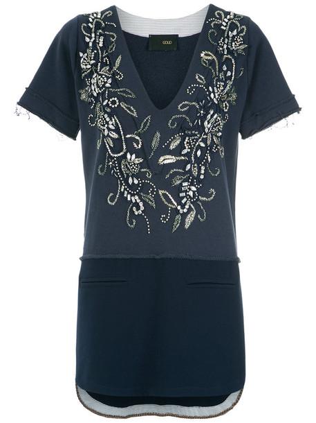 Andrea Bogosian top embroidered women cotton blue