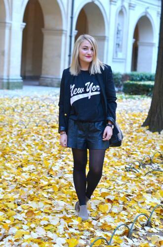 paris grenoble blogger blazer shorts new york city sweater