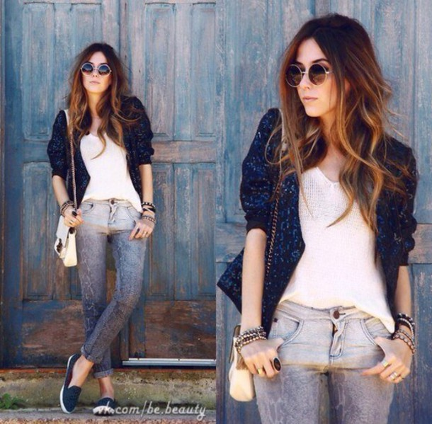 cardigan blue pretty indie tumblr hipster pullover jeans shirt sunglasses