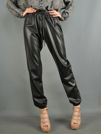 Faux leatherette drawstring pants