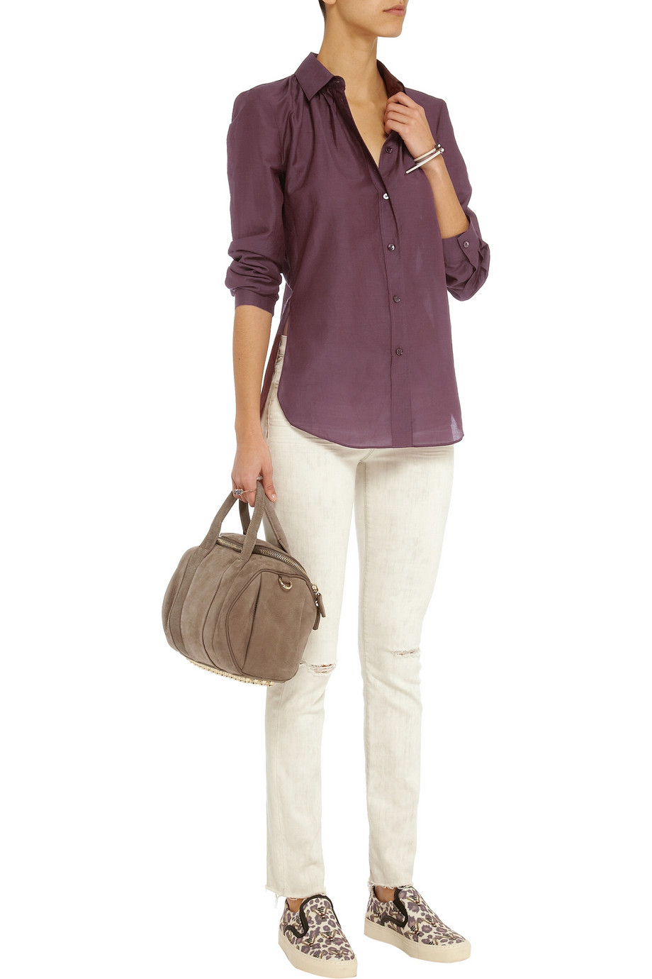 Acne Studios Adeline cotton and silk-blend shirt – 65% at THE OUTNET.COM