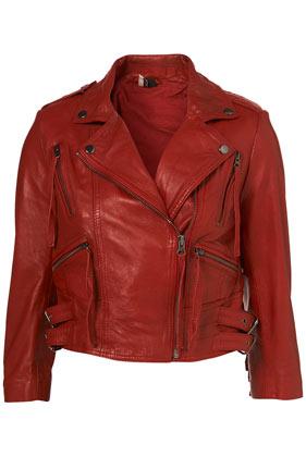 Premium red fringed leather biker jacket