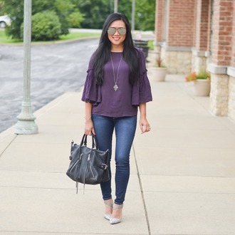 morepiecesofme blogger sunglasses jewels bag top shoes handbag pumps skinny jeans
