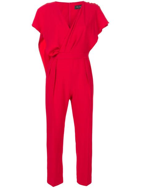 Max Mara jumpsuit women silk red