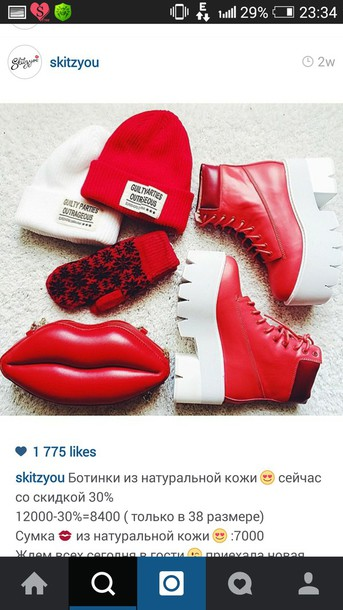 shoes leather red hat
