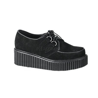 Demonia Creeper 101 Black Suede Lace-up Platform Creepers - Demonia Women's Creepers - Demonia Footwear