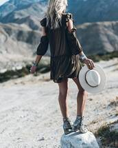 dress,tumblr,hat,brown,brown dress,mini dress,cut-out,cut out shoulder,boots,snake print,ankle boots,felt hat,white hat,boho