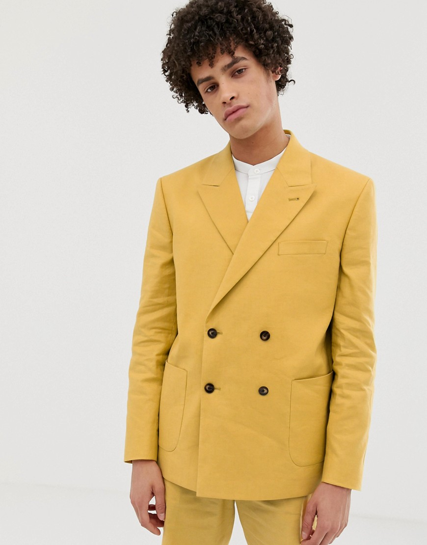 ASOS DESIGN boxy double breasted suit jacket in mustard linen
