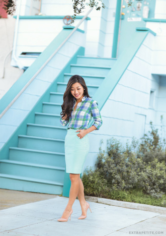 extra petite blogger skirt shirt shoes