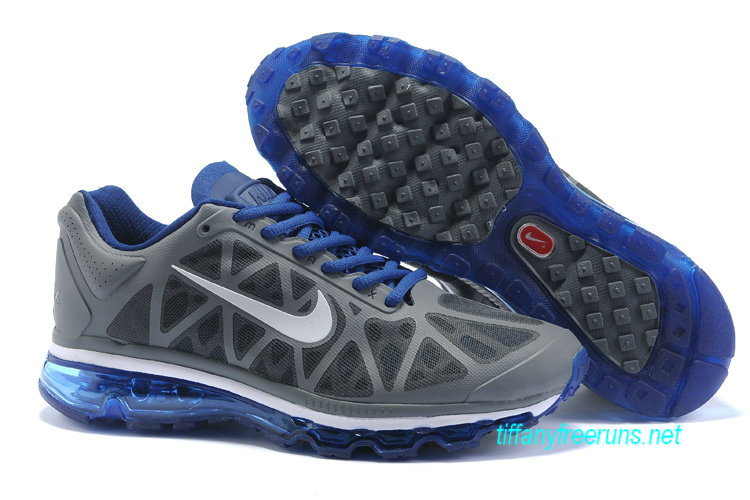 Mens Nike Air Max 2011 Cool Grey/Summit White/Concord Sneakers [Tiffany Free Runs 104]-$56.98|Tiffanyfreeruns.net