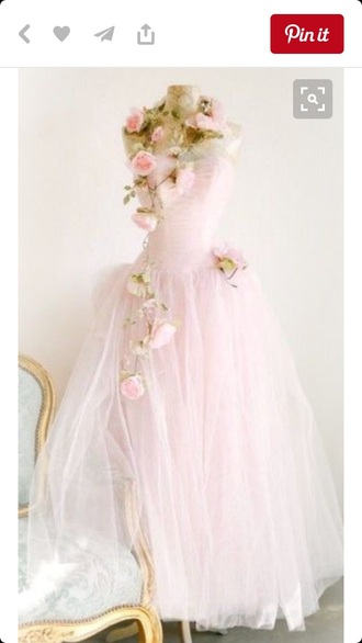 dress pink dress fairy tale prom dress prom ball gown dress princess blush pink baby pink