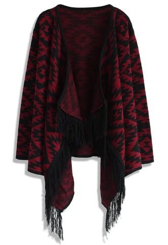 cardigan chicwish aztec fringed cardigan knitted cardigan tribal cardigan