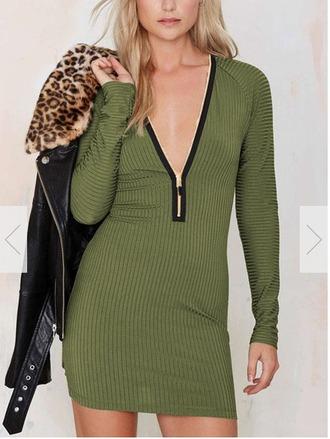 dress green dress bodycon dress zipper dress front zipper dress deep v dress