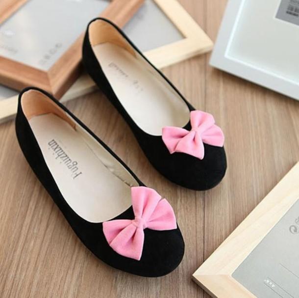 ad39e2429 shoes, ballet flats, black flats, bows, bow flats - Wheretoget