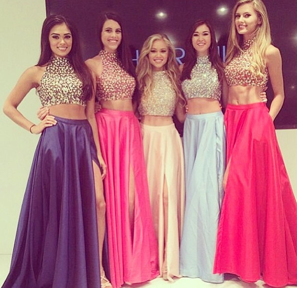 prom prom dress grad graduation graddress graddresses two-piece crop tops two-piece gorgeous high waisted long skirt long dress sequin dress dress two-piece fancy dress
