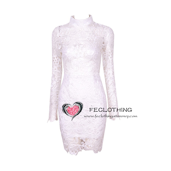 154fdc63fc1 high-necked long-sleeved upper perspective lace dress · FE CLOTHING