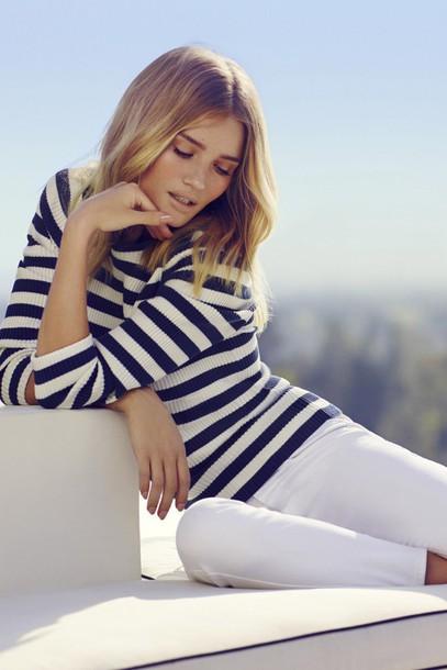 pants rosie huntington-whiteley editorial striped shirt stripes