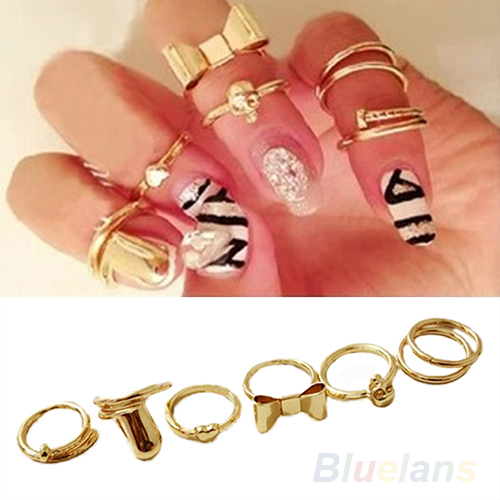 7Pcs Punk Promotion Gold Color Skull Bowknot Heart Nail Simple Band Mid Finger Top Stacking Rings Set for Women-in Rings from Jewelry on Aliexpress.com