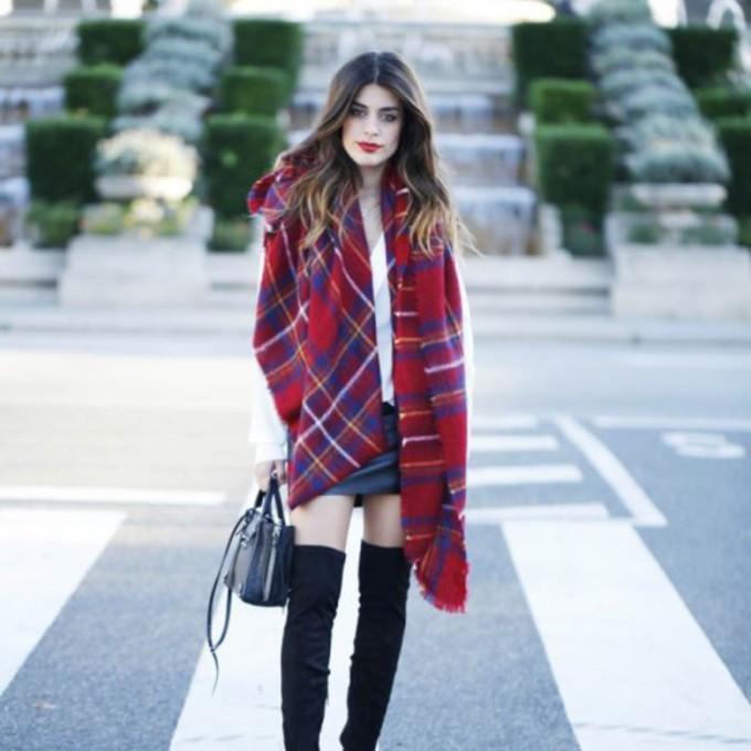 scarf shoes red high knee black boots streetstyle scarf red