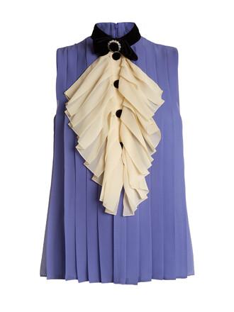 top bow pleated silk purple